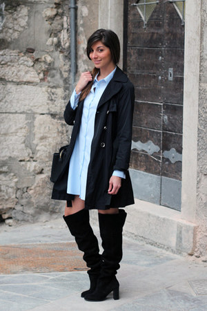 sky blue Frnch dress - navy Pennyblack coat - black Accessorize bag