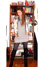 Gray-fornarina-sweater-black-boots-celectino-jacket-calzedonia-stockings-