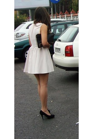 black Stradivarius bag - light pink skater dress Rasberry dress