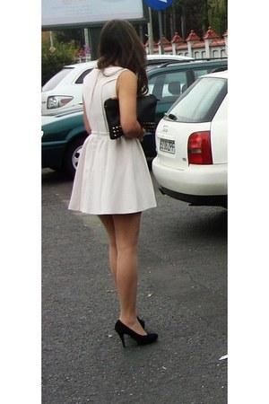 black Stradivarius bag - light pink skater dress Rasberry dress