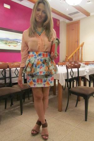 Zara skirt - Zara bag - pull&bear sandals - suiteblanco blouse - H&M necklace