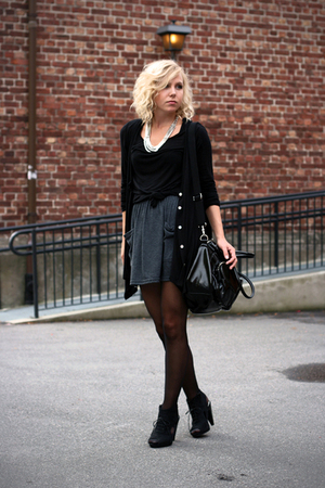 necklace - cardigan - skirt - shirt - shoes - purse