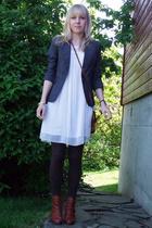 H&M blazer - Vila dress - Mom purse - Bianco shoes