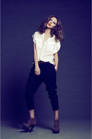 white Zara shirt - black Zara pants - tan Steve Madden heels