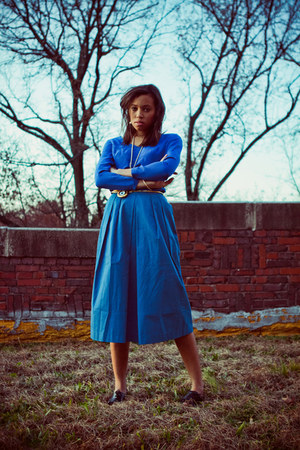 worn as shirt Blue dress - blue hand me down skirt