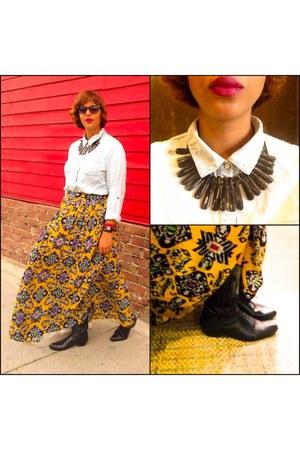 gold skirt - black boots - sky blue Target shirt