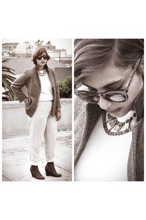 brown shoes - off white Forever 21 sweater - brown vintage blazer - ivory pants
