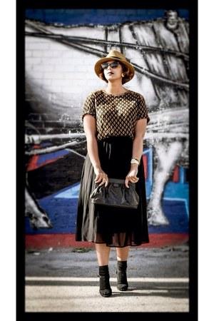 black bag - new look sandals - black Forever21 skirt