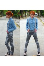 sky blue denim shirt Topshop shirt - silver metallic skinny AX Paris jeans