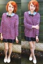 Primark skirt - denim shirt Topshop shirt - Primark flats - hearts & bows jumper