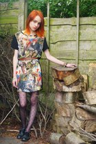 new look necklace - Topshop shoes - romwe dress - Asda tights