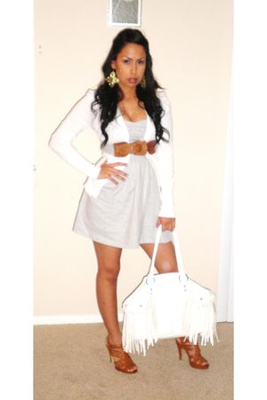 Citi Wear dress - Citi Wear cardigan - Forever 21 earrings - Forever 21 belt - M