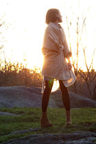 light brown weekday boots - cream staple dress - camel Carin Wester jacket