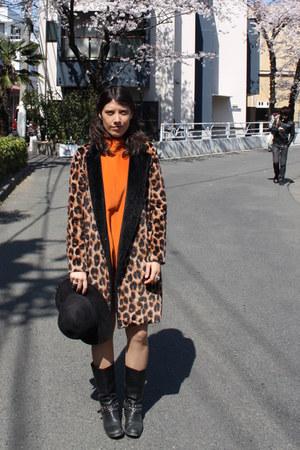 black Miss Sixty boots - dark brown Pixie Market NY coat