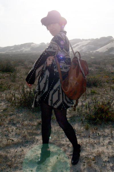 black Zara boots - dark brown Topshop coat - black vintage from Tokyo hat - brow