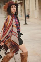 H&M cape - tartan H&M shirt - faux leather Zara shorts