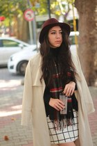 burgundy H&M hat - black Zara jumper - grid Mango skirt