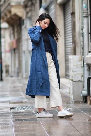 navy Sheinside coat - Adidas sneakers - Zara pants