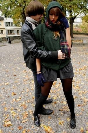 Bershka jacket - Zara scarf - gloves - American Apparel skirt - london socks - z