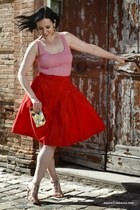 red Moschino cheap&chic skirt - gold Zara bag - nude ninalilou sandals