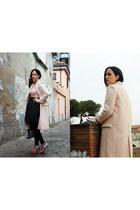pink Miu Miu boots - light pink Zara coat - silver Issey Miyake bag