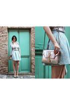 light blue Chanel sandals - silver TODs bag - light blue Prada skirt