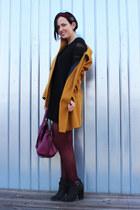black Carvela Kurt Geiger boots - black H&M dress - orange Zara coat