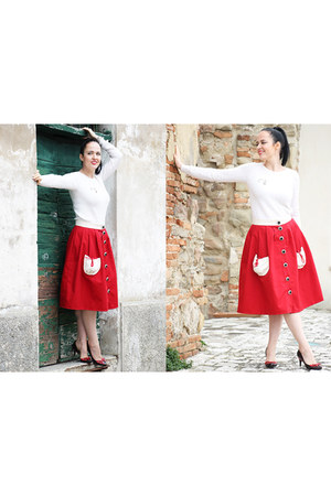 ivory ovs sweater - red Opposes Complementaires skirt