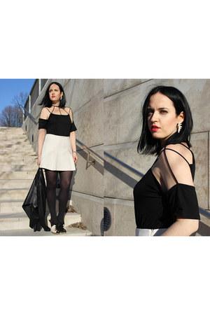 black Bershka top - black Marni heels - ivory Space Style Concept skirt