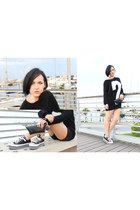 black Bershka sweater - black 3ag bag - black Converse sneakers