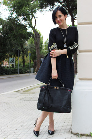 black Fendi bag - black Patrizia di Stefano pumps - black Sister Jane sweatshirt