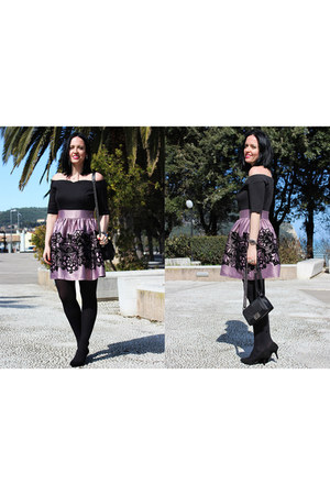 black Chanel bag - pink F&K by Firat Collection dress - black Grey Mer heels