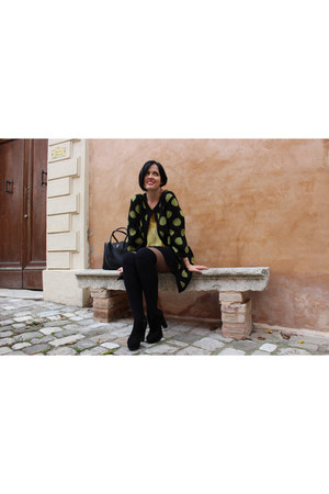 black GraziaLLiani cardigan - black Il Laccio boots - black Chanel bag