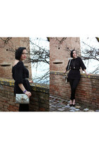 silver TODs bag - black H&M pants - black Marra heels