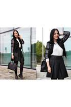black ovs jacket - black Chanel bag - white Ipnotix necklace