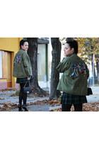 black Chanel boots - army green essentiel Antwerp jacket - black Chanel bag
