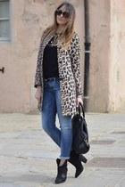 leopard print Zara coat - black Zara boots - teal Rifle jeans
