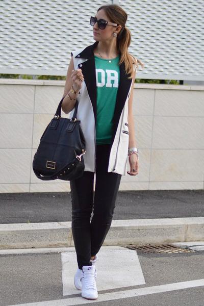 black Givenchy bag - green Primark t-shirt - white nike sneakers