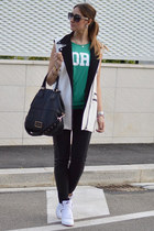 black Givenchy bag - green Primark t-shirt - white nike sneakers