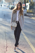 Sheinside coat - white Walter Voulaz shirt - eggshell mini bag Coccinelle bag
