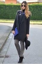 black Tally Weijl hat - black Zara coat - blue Benedetta Mariotti bag