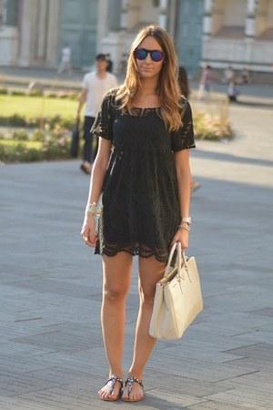 black lace Sheinside dress - ivory Prada bag - black zeroUV sunglasses