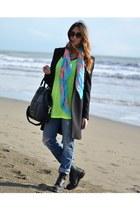 chartreuse fluo tezenis t-shirt - black Dr Martens boots - black Zara coat