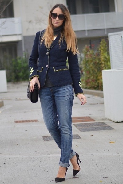 navy DeHart jacket - teal True Religion jeans - black Zara bag