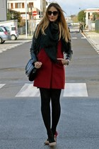 black Calzedonia tights - brick red Sheinside coat - black Zara scarf