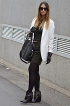 black rupert sanderson boots - black Zara dress - white Zara coat