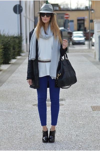 blue Zara pants - black Sheinside coat - heather gray Borsalino hat