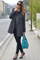 charcoal gray Rinascimento coat - sky blue Cruciani bag