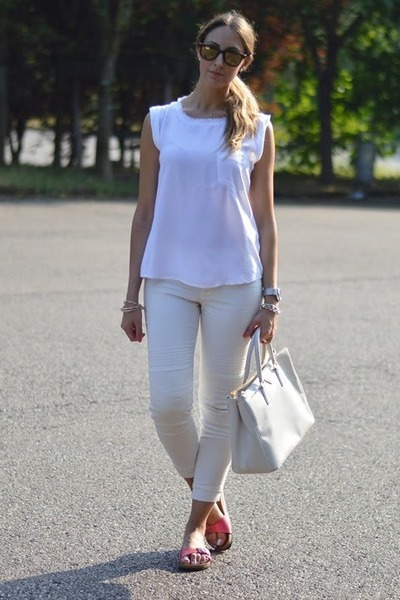 white Zara top - off white Prada bag - dark brown carrera sunglasses