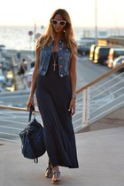 navy long long dress Dorothy Perkins dress - teal denim Miu Miu bag